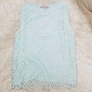 Ann Taylor loft Tiffany Blue Crochet Large Floral
